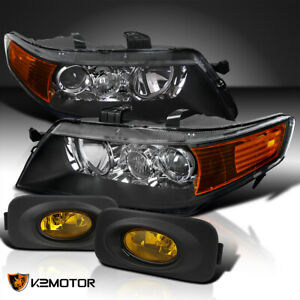 Fits 2004 2005 Acura Tsx Black Projector Headlights Yellow Fog Lamps Left Right