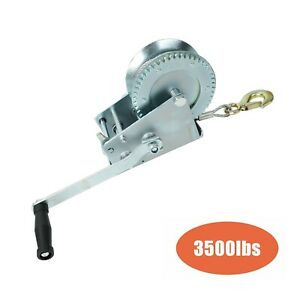 3500lbs 33ft Dual Gear Hand Winch Hand Crank Manual Boat Atv Rv Trailer Cable