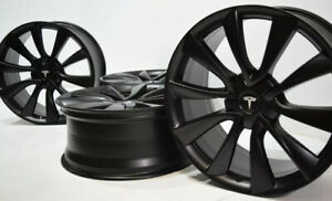 20 Tesla Model 3 Tm3 Wheels Factory Oem Rims Satin Black Staggered 20 Inch
