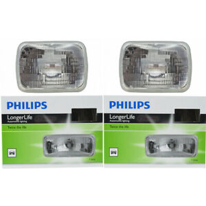 2 Pc Philips High Low Beam Headlight Bulbs For Mitsubishi Mighty Max Mirage Ze