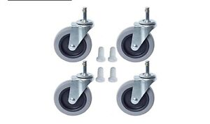 Pack Of 4 7 16 Grip Ring Stem Casters W 4 X 7 8 Tpr Wheel With Inserts