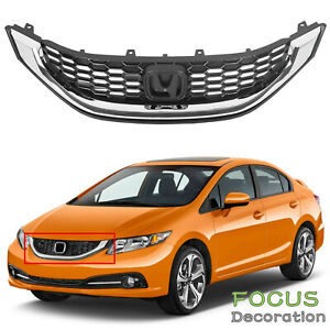Grille Black W Molding For 2013 2014 2015 Honda Civic Sedan Replace Ho1200216