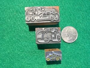 3 Letterpress Type Print Blocks Road Grader roller dump Truck Road Construction