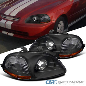 For 96 98 Honda Civic 2 3 4dr Black Retrofit Style Projector Headlight Headlamps