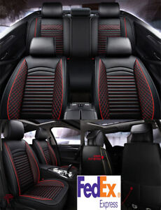 Black Red Pu Leather Car Seat Covers Front Rear Set For 5 seats Car Sedan