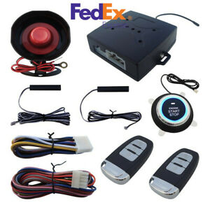 Car Alarm System With Pke Passive Keyless Entry Engine Remote Start Arm Disarm