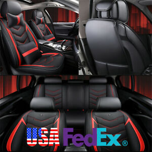 Car Seat Covers W Pillows Full Set Black Red Pu Leather For 5 Seats Car Truck