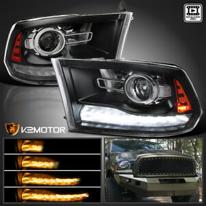 For 2009 2018 Ram 1500 2500 Black Projector Headlights Switchback Led Drl Signal