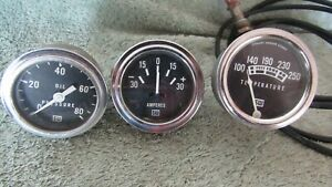Lot Of 3 Stewart Warner Vintage Gauges Water Temp Oil Pressure Amperes Rat Rod