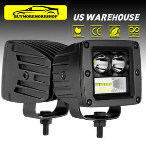 2x 3 Inch 200w Cree Led Cube Pods Work Light Spot Flood Driving Offroad Atv Utv