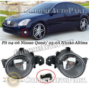 For 2005 2006 Nissan Altima Clear Lens Front Bumper Fog Driving Lights Harness