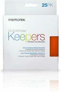 Memorex Color Cd Dvd Keepers Plastic 18 In Box Cd Case Holder Sleeves