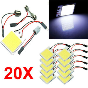 20x 48 Smd Cob White Panel Led T10 Car Interior Panel Light Dome Lamp Bulb Usa