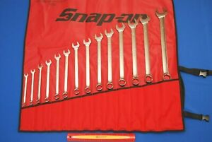 New Snap On 14 Piece 12 Point Sae Standard Combination Wrench Set Oex714kb