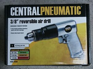 Central Pneumatic 3 8 Reversible Pistol Grip Air Drill 94585 New In Box