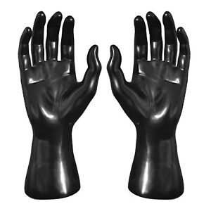 Male Pvc Hand Model Ring Gloves Jewelry Display Support Rack Organizer Black 1