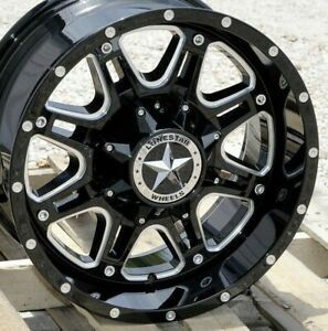 18 Black Cnc Edges Lonestar Offroad Outlaw Wheels 18x9 8x170 0mm Ford F250 F350