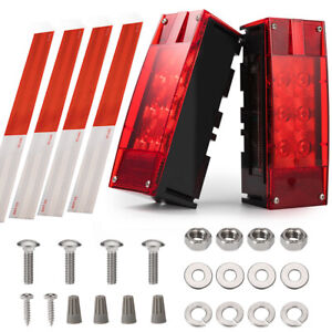 Left right Led Waterproof Red Trailer Boat Stud Stop Turn Tail Lights Rectangle
