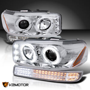 For 1999 2006 Gmc Sierra 1500 Projector Headlights Sequential Led Signal Bumper