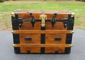 Antique Wood Flat Top Steamer Trunk Restored 32 Storage Chest Table
