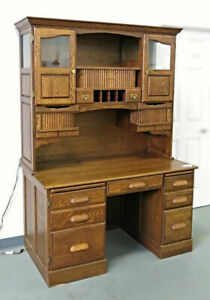 Oak American Curio Top Desk Writing Table Executive Vintage Chest Hutch Cabinet