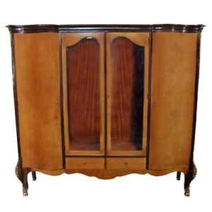 Antique Louis Xv Bronze Mounted Large Banded Armoire Wardrobe Bookcase Cabinet