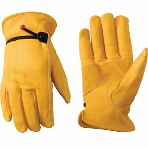 Men s Leather Work Gloves With Adjustable Wrist Xx large Wells Lamont New W tag