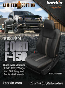 2015 2020 Ford F 150 Xlt Supercab Katzkin Leather Seat Covers Black Gray Sema