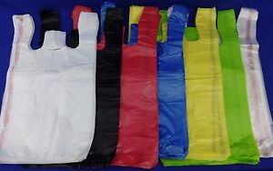 T shirt Bags W Handles 11 5 X 6 x 21 Plastic Retail Variety Of Qty Colors