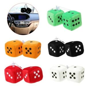 2pcs Fuzzy Dice Dots Rear View Mirror Hanger Decoration Car Styling Ornament New