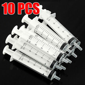 10x Plastic Disposable Syringe 10ml 10cc For Measuring Hydroponics Nutrient