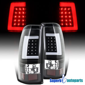 For 2003 2006 Chevy Silverado 2500 3500 Led Tube Brake Tail Lights Black Lh rh
