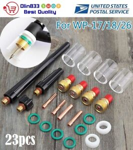 23x Tig Welding Torch Collet Gas Lens 10 Pyrex Glass Cup Kit For Sp Wp 17 18 26