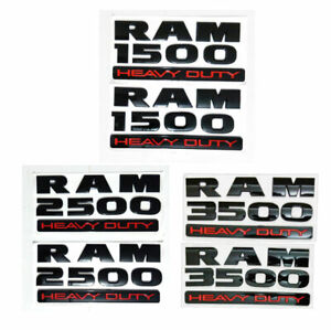 2pcs New Dodge Ram1500 Ram2500 Ram3500 Emblem Fender Badge Sticker Decal Black