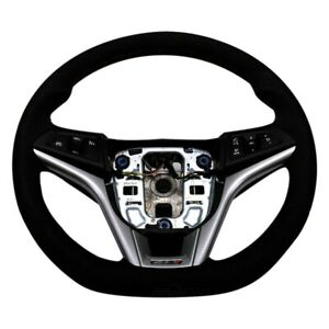 For Chevy Camaro 12 15 3 Spoke Ebony Suede Steering Wheel W Torch Red Stitching
