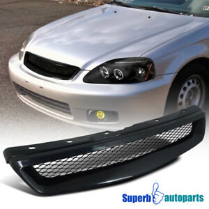 For 1999 2000 Honda Civic Lx Ex Si Front Mesh Grill T r Grille Black