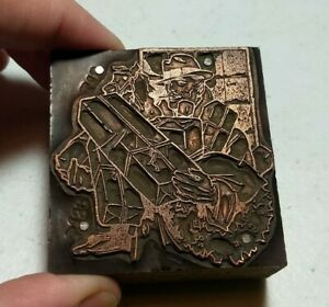 Vintage Letterpress Printing Block Man Carrying Lots Of Gifts Wreath Christmas