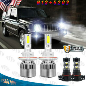 For Jeep Patriot 2010 2017 4x Led Headlight High low Beam Fog Light Bulbs Kit