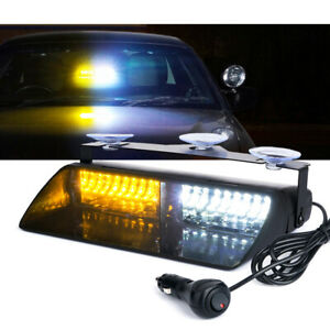 16 Led Dash Windshield Strobe Light Interior Emergency Warning White Amber