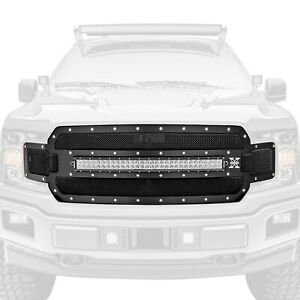 For Ford F 150 18 20 Main Grille 1 pc Torch Series Black Formed Woven Wire Mesh