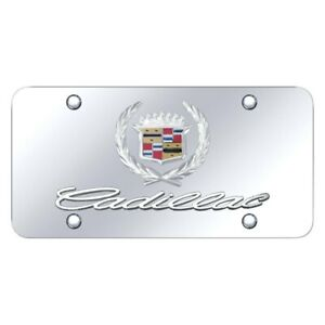 Autogold D cad cc Chrome License Plate W 3d Chrome Cadillac Logo Emblem