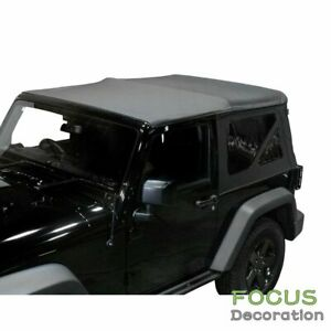 Soft Top Replacement Tinted Windows Black Denim For 1997 2006 Jeep Wrangler Tj