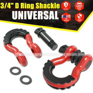3 4 D ring Red Bow Shackles W Black Isolators Washer Clevis Kit 4 75 Ton 2pcs