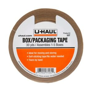 U haul Packaging Paper Tape 30yds Rolls Self Adhesive Easily Tears By Hand 30t