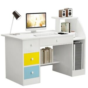 Computer Desk With Drawer And Shelf Study Home Office Laptop Table Workstation