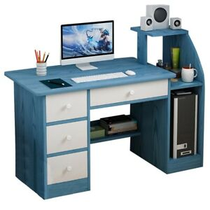 Wood Computer Desk With Drawers Shelf Pc Laptop Office Table Home Small Desks