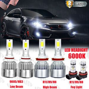 6000k For Honda Accord 2013 2014 2015 Combo Led Headlight Kit High Low Fog Bulbs