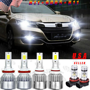For Honda Accord 2013 2014 2015 Combo 6000k Led Headlight Kit High Low Fog Bulbs