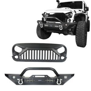 Steel Front Bumper Angry Black Bird Front Grille For Jeep Wrangler Jk 07 18