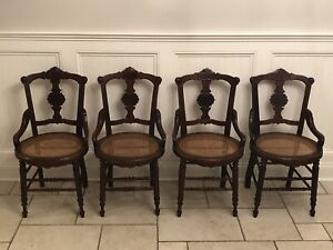 Antique Victorian Eastlake Walnut Dining Chairs Set 4 Cane Seats